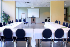 Image of the Conference Space at RCC - Brampton. It's a Large space with seating set-up
