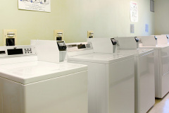 Image of the laundry facilities at RCC - Brampton. There's a number of washing machines and dryers