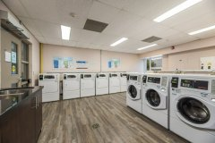 Image of the laundry facilities at RCC - Hamilton. There\'s a number of washing machines and dryers