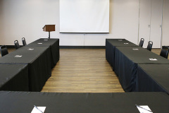 Image of the conference space at RCC - Hamilton. There\'s a meeting style set-up.