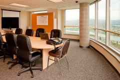 Image of the Meeting space at RCC-Kamloops. It's a large space with seating set-up.
