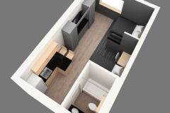 Image of an overhead look of a traditional hotel suite at RCC-Kitchener-Waterloo.