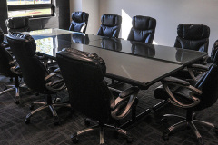 Image of the meeting space at RCC-Oakville. It's a large space with seating set-up.