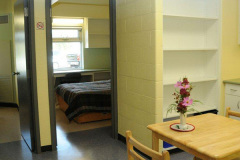 Image of one of the suites at RCC-Sudbury West looking at the entrance to both bedrooms.