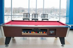 Image of the games lounge at RCC-Windsor. Includes a pool table.