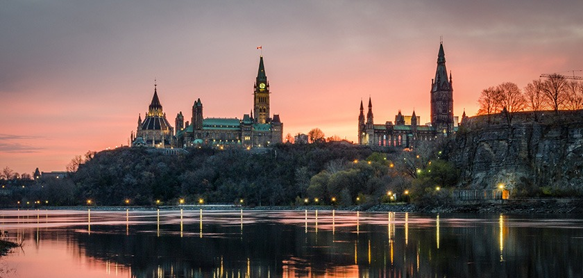 Sunset view of Parliament Hill in Ottawa