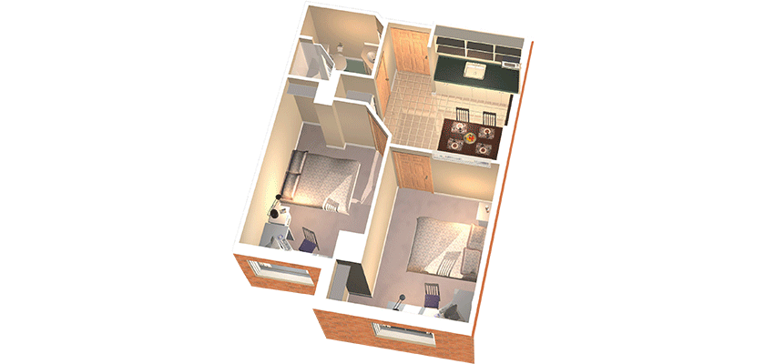 Two bedroom suite rendering. There's two bedrooms, a kitchenette and a washroom.