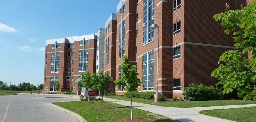 The exterior of Merlin House at RCC - London/Fanshawe College Residence
