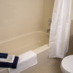 Image of bathroom at RCC - Sarnia, shows bathtub and toilet.