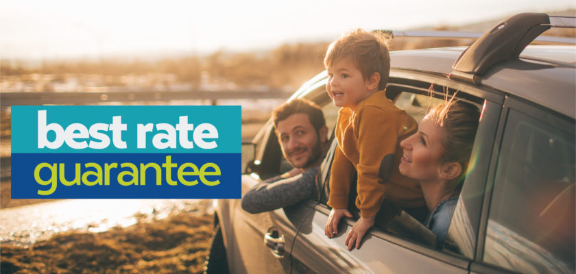 Image showing the text Best Rate Guarantee, and an image of a family in a car.